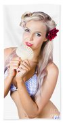 Beauty Woman With Clean Skin And Natural Makeup Beach Towel