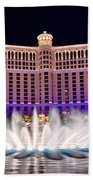 Bellagio Hotel And Casino At Night Beach Towel