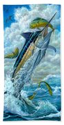Big Jump Blue Marlin With Mahi Mahi Beach Towel