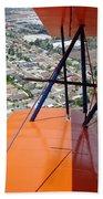 Biplane Over San Diego Beach Towel