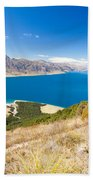 Blue Surface Of Lake Hawea In Central Otago In New Zealand Beach Towel