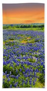 Bluebonnet Sunset  Beach Towel