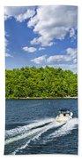 Boating On Lake Beach Towel by Elena Elisseeva