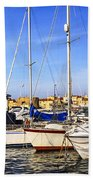 Boats At St.tropez Beach Towel by Elena Elisseeva