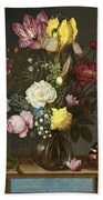 Bouquet Of Flowers In A Glass Vase Beach Towel