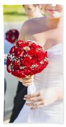Bride Holding Red Rose Flower Bunch Beach Towel