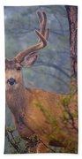 Buck Deer In A Mystical Foggy Forest Scene Beach Towel