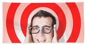 Business Man In Fear On Target Background Beach Towel