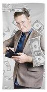 Businessman Under Falling Money. Financial Success Beach Towel