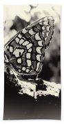 Butterfly In Black And White  Beach Towel