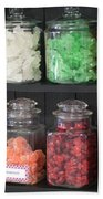 Candy In Container On Store Shelf Beach Towel