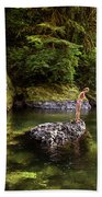 Cascade Locks, Oregon, Usa. A Woman Beach Towel