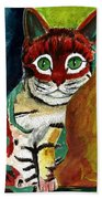 Cat Around Corner Beach Towel
