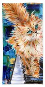 Cat Orange Beach Towel