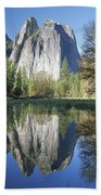 Cathedral Rock And The Merced River Beach Towel