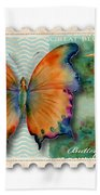 1 Cent Butterfly Stamp Beach Towel