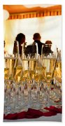 Champagne Glasses At The Party Beach Towel