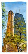 Chicago Water And Hancock Towers Beach Towel