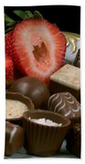 Chocolate On Plate With Strawberry Beach Towel
