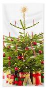 Christmas Tree Decorated With Presents Beach Towel