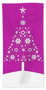 Christmas Tree Made Of Snowflakes On Pink Background Beach Towel