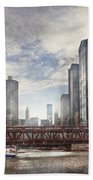 City - Chicago Il - Looking Toward The Future Beach Towel