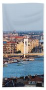 City Of Budapest At Sunset Beach Towel