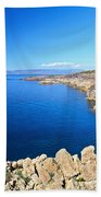 cliff in San Pietro Island Beach Towel