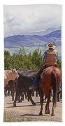 Colorado Cowboy Cattle Drive Beach Towel