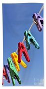 Colorful Clothes Pins Beach Towel