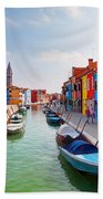 Colorful Houses And Canal On Burano Island Near Venice Italy Beach Towel