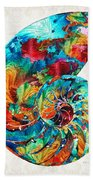 Colorful Nautilus Shell By Sharon Cummings Beach Towel