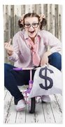 Corrupt Business Thief In A Smart Stealing Scam Beach Towel