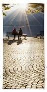Couple On A Bench Beach Towel