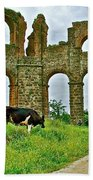 Cow By Second Century Aspendos Aqueduct-turkey Beach Towel