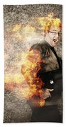 Crazy Businessman Running Engulfed In Fire. Late Beach Towel