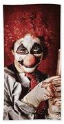 Crazy Medical Clown Holding Oversized Syringe Beach Towel