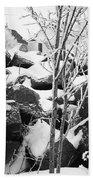 Cut Stone Blocks Backyard Snow Aberdeen South Dakota 1965 Black And White Beach Towel