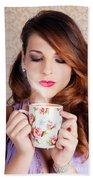 Cute Brunette Woman Drinking Hot Coffee Indoors Beach Towel