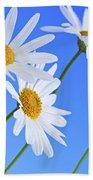 Daisy Flowers On Blue Background Beach Sheet