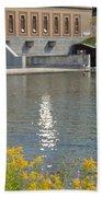 Dam Reflection Beach Towel