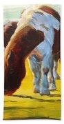 Dartmoor Ponies Painting Beach Towel