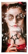 Day Of The Dead Girl Blowing Party Bubbles Beach Towel