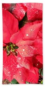 Diamond Encrusted Poinsettias Beach Towel