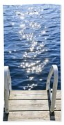 Dock On Summer Lake With Sparkling Water Beach Towel