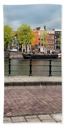 Dutch Houses By The Amstel River In Amsterdam Beach Towel