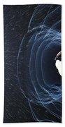 Earths Magnetic Field Beach Towel