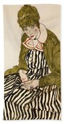 Edith With Striped Dress Sitting Beach Towel