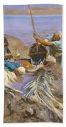 Egyptians Raising Water From The Nile Beach Towel