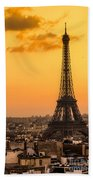 Eiffel Tower At Sunrise - Paris Beach Towel